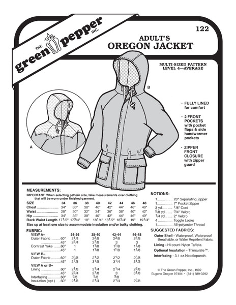 Adult's Oregon Jacket Sewing Pattern