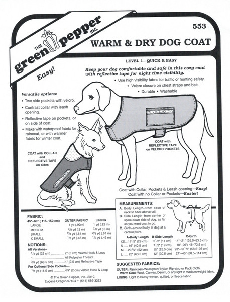 Warm & Dry Dog Coat Sewing Pattern