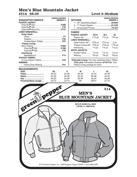 GP-Men Blue Mountain Jacket Pattern