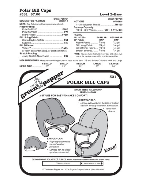 Polar Bill Caps Sewing Pattern