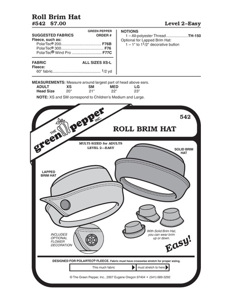 Roll Brim Hat Sewing Pattern