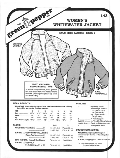 GP-Women Whitewater Jacket Pattern