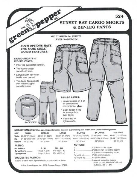 Sunset Bay Cargo Shorts & Zip-Leg Pants Sewing Pattern